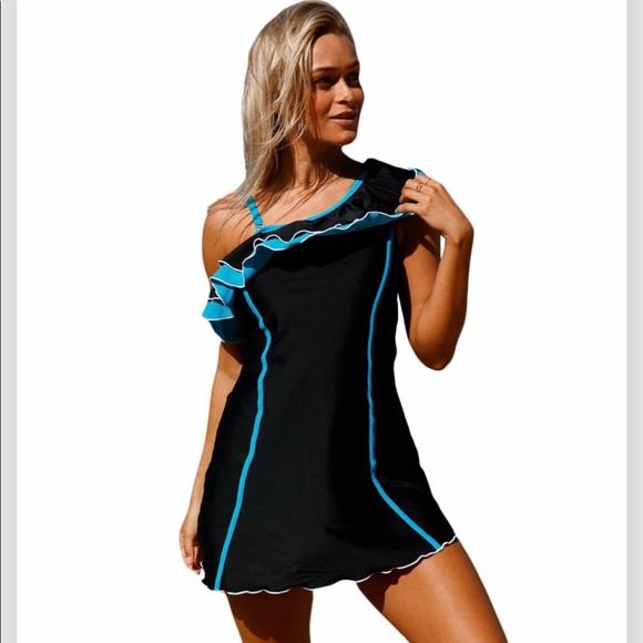 Other - Black & Blue Ruffle Swimdress NWT